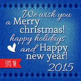 Happy New Year and Merry Christmas. Lettering Greeting  Card. Vector illustration Royalty Free Stock Photography