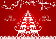 Happy New Year and Merry Christmas with Monkey's Stock Images