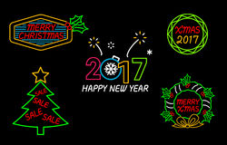Happy New Year and Merry Christmas Neon Sign. Merry Christmas and Happy New Year Neon Sign stock illustration