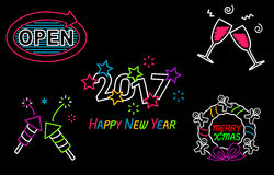 Happy New Year and Merry Christmas Neon Sign Royalty Free Stock Image
