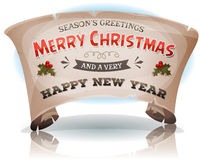 Happy New Year And Merry Christmas On Parchment Scroll stock illustration
