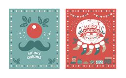 Happy New year and Merry Christmas poster. Or card set with festive decor, garlands, Christmas sweets, Christmas trees, socks, gifts in boxes, confetti, clown stock illustration