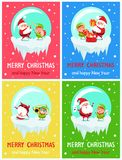 Happy New Year Merry Christmas Poster Santa Elf. Happy New Year Merry Christmas posters set Santa and Elf playing on trumpet and drum, give gifts from red sack royalty free illustration