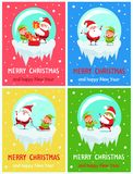 Happy New Year Merry Christmas Poster Santa Elf. Happy New Year Merry Christmas posters Santa and Elf on icy cliff put presents into sack, sing carol songs, ride vector illustration