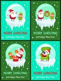 Happy New Year Merry Christmas Poster Santa Elf. Happy New Year Merry Christmas posters set Santa and Elf on icy cliff sing song, hang wreath, put presents into stock illustration