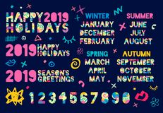 Happy New Year 2019, Merry Christmas r. Colorful hand drawn vector illustration. Happy New Year 2019, Merry Christmas months, banners, numbers, seasons vector illustration