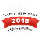Happy new year 2018 and Merry Christmas with red ribbon greeting card. Vector illustration. Happy new year 2018 and Merry Christmas greeting card or banner vector illustration