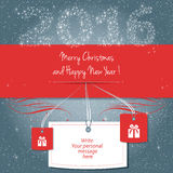 Happy new year 2016. Merry Christmas and Happy New Year 2016, reduction card, write your personal message, vector Royalty Free Stock Photography