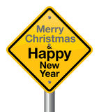 Happy New Year. Merry christmas and happy new year road sign royalty free illustration