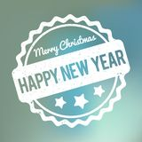 Happy New Year Merry Christmas rubber stamp award vector white on a blue bokeh background. Happy New Year Merry Christmas rubber stamp award vector white on blue vector illustration