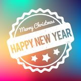 Happy New Year Merry Christmas rubber stamp award vector white on a rainbow bokeh background. Happy New Year Merry Christmas rubber stamp award vector white on vector illustration