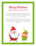 Happy New Year and Merry Christmas Santa Claus. On colorful white background. Vector illustration with xmas symbols surrounded by green square frame royalty free illustration