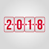 Happy New Year 2018 and Merry Christmas Scoreboard red vector. Happy New Year 2018 and Merry Christmas Scoreboard flip red vector sign Stock Photo
