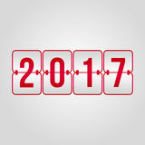 Happy New Year 2017 and Merry Christmas Scoreboard red vector sy. 2017 flip red gradient vector symbol Stock Illustration
