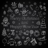 Happy New Year and Merry Christmas set on a chalk stock illustration