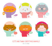 Happy New 2017 Year and Merry Christmas Set. Cute and Funny Animals wrapped in a scarf congratulates all of the holidays. Circle cut. Good for greeting card Royalty Free Stock Image