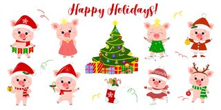 Happy New Year and Merry Christmas. A set of eight cute pigs in different costumes and poses. Christmas tree and gifts. Symbol of. The new year in the Chinese royalty free illustration