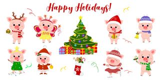 Happy New Year and Merry Christmas. A set of eight cute pigs in different costumes and poses. Christmas tree and gifts. Symbol of. The new year in the Chinese stock illustration