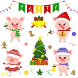 Happy New Year and Merry Christmas. A set of four cute pigs in different costumes. Christmas tree, gifts and other party items. Th vector illustration