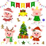 Happy New Year and Merry Christmas. A set of four cute pigs in different costumes. Christmas tree, gifts and other party items. Th. E symbol of the new year in stock illustration