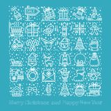 Happy New Year and Merry Christmas set vector illustration