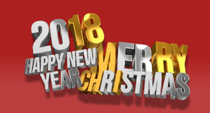 2018 happy new year and merry christmas silver gold 3d render. Illustration Royalty Free Stock Photos