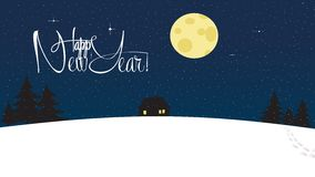 Happy New Year and Merry Christmas Snowy Wallpaper. Lonely house among wood with silhouette trees. Magical starry night with big bright round moon. Lettering Royalty Free Stock Images