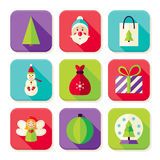 Happy New Year Merry Christmas Square App Icons Set Royalty Free Stock Images