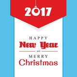 Happy New year and merry Christmas. Text on a white background and a red triangle Royalty Free Stock Photos