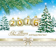 Happy New Year and Merry Christmas 2016.   Happy New Year and Merry Christmas 2016 with a Christmas tree in the background of a winter landscape Stock Photo
