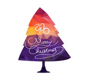Happy new year and Merry Christmas with tree greeting card Royalty Free Stock Photography
