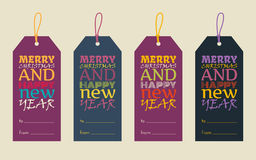 Happy New Year and Merry Christmas. Typography label set.Vector illustration in flat style Stock Photo