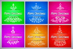 Happy New Year and Merry Christmas vector background set with ornament snowflake pine Stock Photos