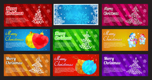 Happy New Year and Merry Christmas vector banner horizontal set with ornament snowflake pine, ball, toys and snowman Royalty Free Stock Photography