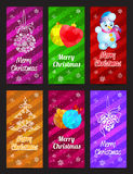 Happy New Year and Merry Christmas vector banner vertical set with ornament snowflake pine, ball and snowman Stock Photo