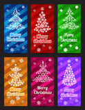 Happy New Year and Merry Christmas vector banner vertical set with ornament snowflake pine Stock Images
