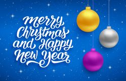 Happy New Year and Merry Christmas vector card. Merry Christmas and Happy New Year seasons greetings text on blue background with sparkles and colorful hanging Stock Photos