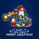 Happy New Year, Merry Christmas vector design. Happy New Year greeting card, poster. Vector Christmas symbol in shape of santa hat with snowman, decorated Stock Image