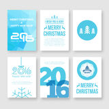 Happy new year 2016 and Merry Christmas vector. Modern brochure design template with numbers. Set of Postcard, invitation. Vector illustration stock illustration