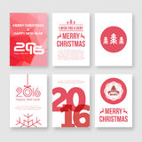 Happy new year 2016 and Merry Christmas vector. Modern brochure design template with numbers. Set of red Postcard, invitation. Vector illustration royalty free illustration