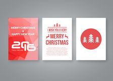 Happy new year 2016 and Merry Christmas vector modern brochure design template with numbers. Set of red Postcard. Invitation. Vector illustration Stock Image