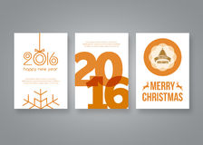 Happy new year 2016 and Merry Christmas vector modern brochure design template with numbers. Set of red Postcard. Invitation. Vector illustration Stock Photos