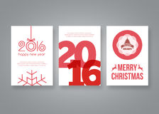 Happy new year 2016 and Merry Christmas vector modern brochure design template with numbers. Set of red Postcard Royalty Free Stock Photos