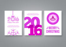 Happy new year 2016 and Merry Christmas vector pink modern brochure design template with numbers. Set of Postcard, invitation. Vector illustration vector illustration