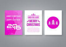 Happy new year 2016 and Merry Christmas vector pink modern brochure design template with numbers. Set of Postcard. Invitation. Vector illustration royalty free illustration