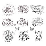 Happy New Year and Merry Christmas Vector Text . Symbol of 2017 Rooster. Lettering Set stock illustration