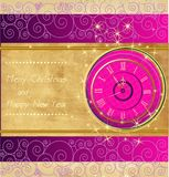 Happy New Year and Merry Christmas. Vintage background with clock stock illustration