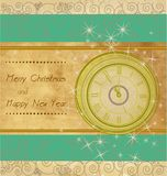 Happy New Year and Merry Christmas. Vintage background with clock vector illustration