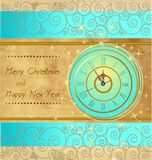 Happy New Year and Merry Christmas. Vintage background with clock Royalty Free Stock Image