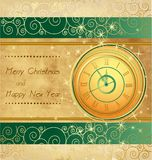 Happy New Year and Merry Christmas. Vintage background with clock Stock Photos